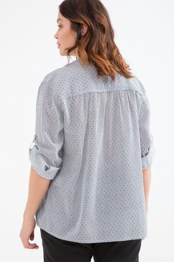 Curvy 100% cotton printed blouse, White/Blue, hi-res