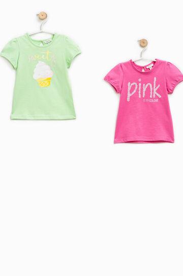 Set due t-shirt in puro cotone con stampa, Rosa/Verde, hi-res