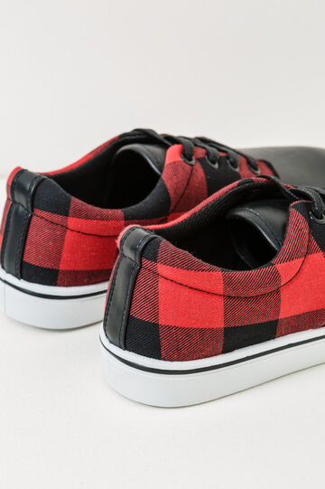 Check pattern sneakers, Black/Red, hi-res