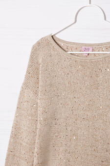 Cotton blend knitted pullover, Beige, hi-res