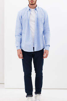 100% cotton oxford slim fit shirt, Light Blue, hi-res