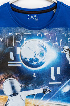 Printed T-shirt in 100% cotton, Electric Blue, hi-res