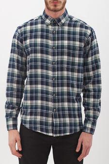 Camicia cotone regular fit a quadri, Blu, hi-res