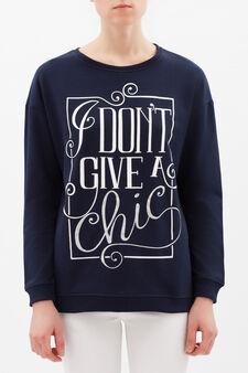 Printed sweatshirt in viscose blend, Navy Blue, hi-res