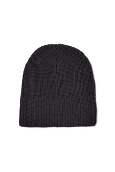 Solid colour knitted beanie cap, Navy Blue, hi-res