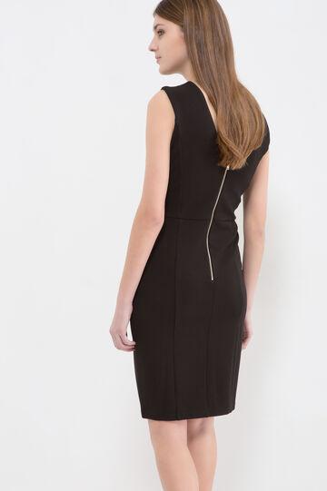 Solid colour sleeveless stretch dress, Black, hi-res