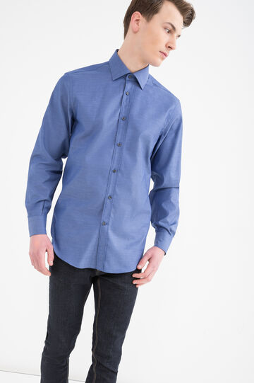 Camicia regular fit colletto classico, Blu, hi-res
