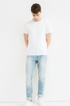Loose-fit worn jeans with turn-ups, Light Wash, hi-res