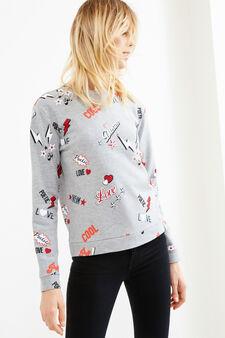 Round neck cotton sweatshirt with print, Grey Marl, hi-res