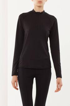 T-shirt sportiva maniche lunghe, Nero, hi-res