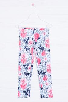Printed stretch leggings, White, hi-res
