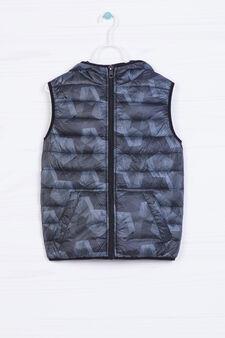 Padded waistcoat with geometric pattern, Grey, hi-res