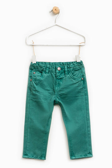 Solid colour 100% cotton trousers, Emerald Green, hi-res