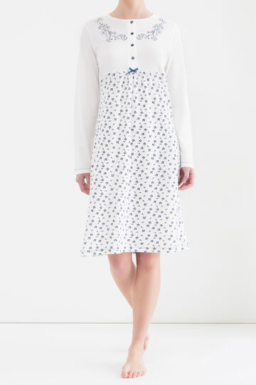 Camicia da notte stampata, Bianco, hi-res
