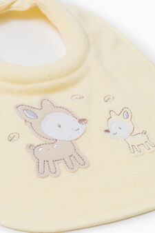 Two-pack embroidered bibs, Yellow, hi-res