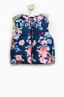 Floral print padded waistcoat, Blue, hi-res