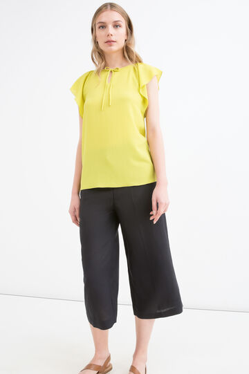 Solid colour stretch blouse, Acid Yellow, hi-res