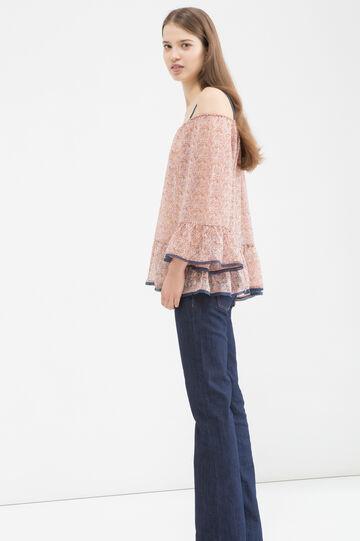 Cotton blend patterned blouse, Pink, hi-res
