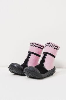 Embroidered sock slippers, Black, hi-res