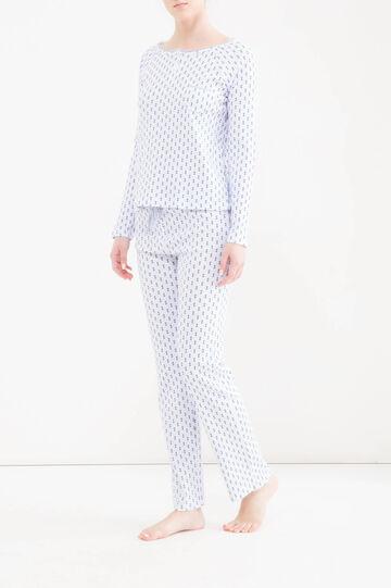 Patterned pyjamas in 100% cotton, White, hi-res
