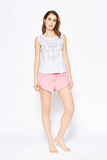 Printed pyjama top and shorts, Light Grey Marl, hi-res