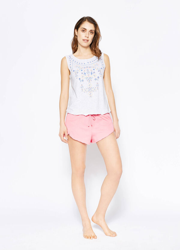 Printed pyjama top and shorts | OVS