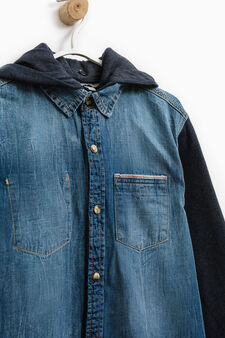 Denim shirt with hood, Blue, hi-res
