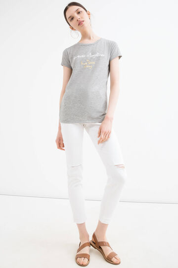 Viscose blend stretch T-shirt, Grey, hi-res