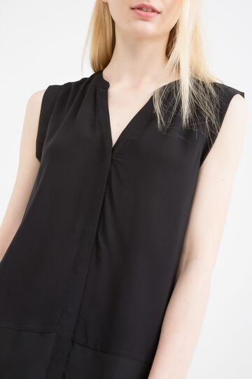 Sleeveless blouse in 100% viscose, Black, hi-res
