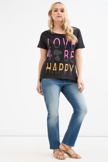 Curvy 100% cotton Snoopy T-shirt, Black, hi-res