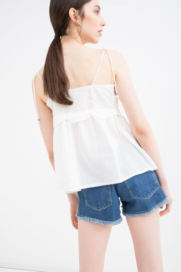 Embroidered top in 100% cotton, White, hi-res