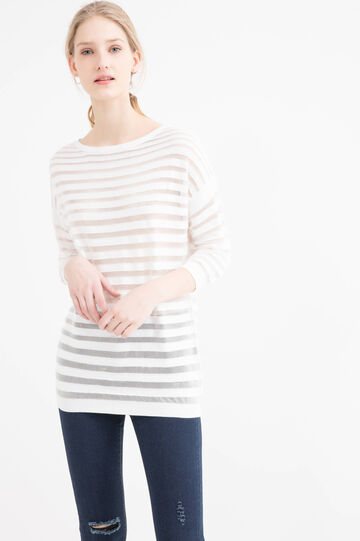 Striped cotton blend pullover, White, hi-res