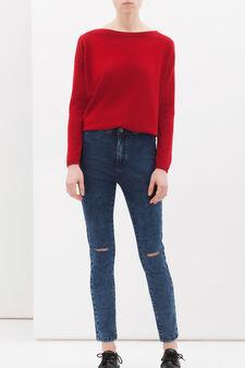 Silk-cashmere blend pullover., Red, hi-res