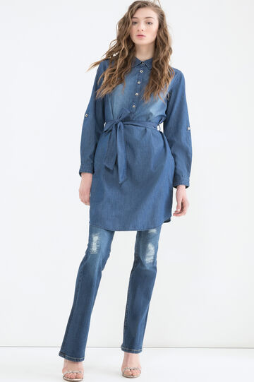 Worn-effect denim dress, Denim Blue, hi-res