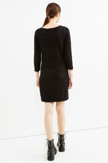 Solid colour knitted dress, Black, hi-res
