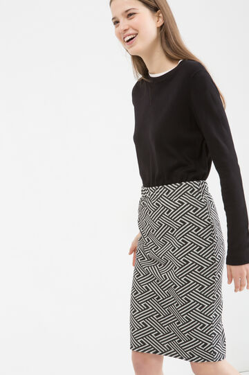Stretch cotton blend pencil skirt, Black/White, hi-res