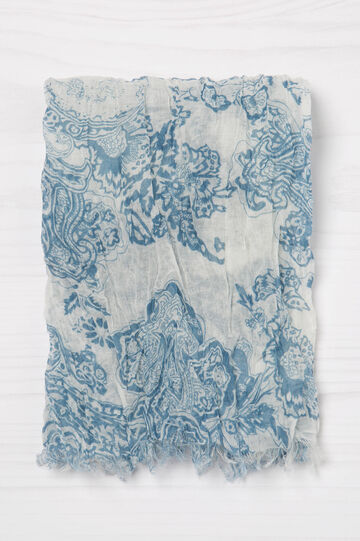 Printed scarf with fringed bottom, Soft Blue, hi-res