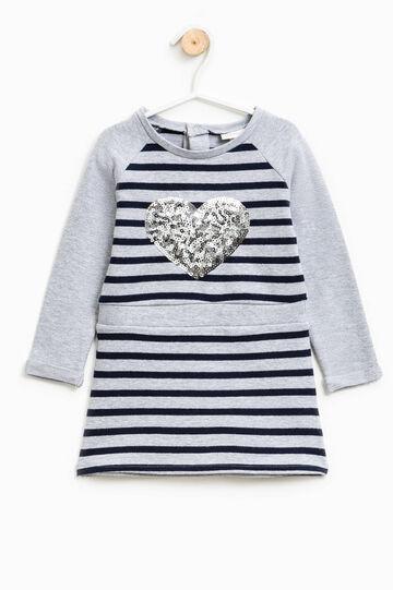 Vestido de rayas con lentejuelas con forma de corazón, Gris/Azul, hi-res