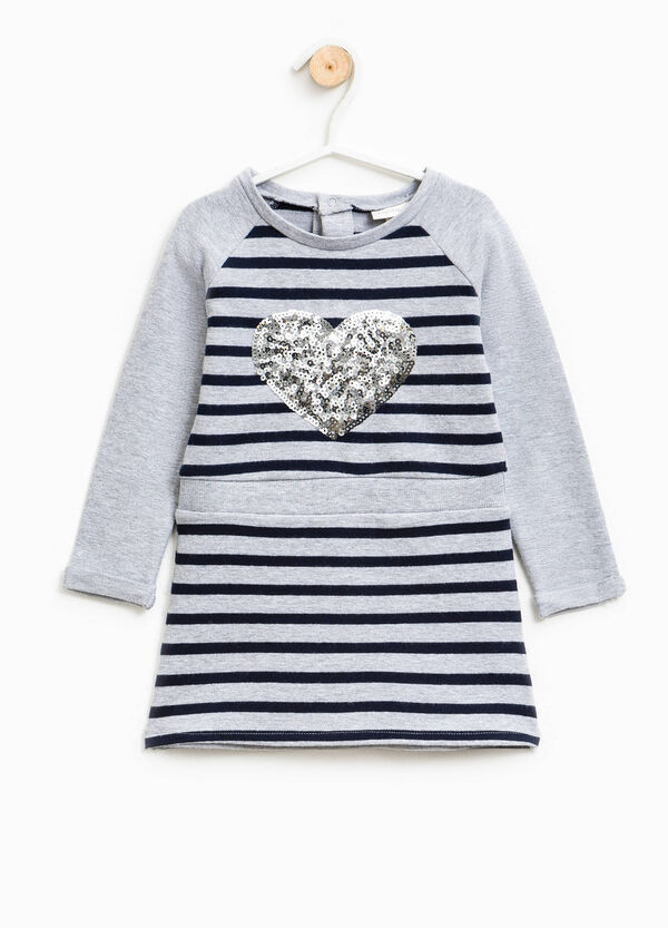Striped dress with heart-shaped sequins | OVS