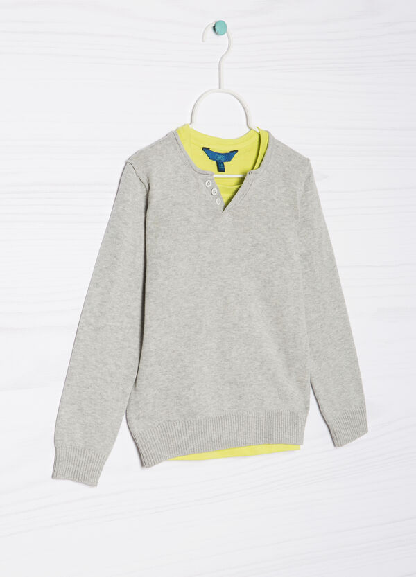 100% cotton faux double pullover | OVS
