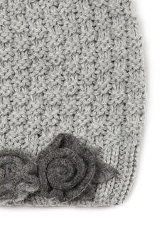 Rosebud beanie cap, Grey, hi-res