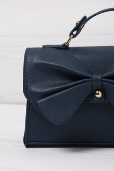 Solid colour, leather look bag, Navy Blue, hi-res