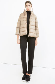 Down jacket with three-quarter sleeves, Beige, hi-res