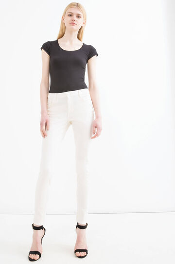 Solid colour stretch trousers, White, hi-res