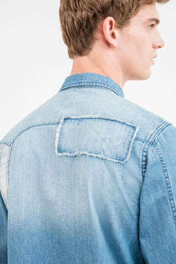 G&H casual denim shirt with patches, Blue, hi-res