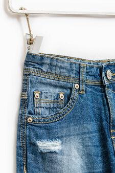 Worn-effect denim Bermuda shorts with abrasions, Denim, hi-res