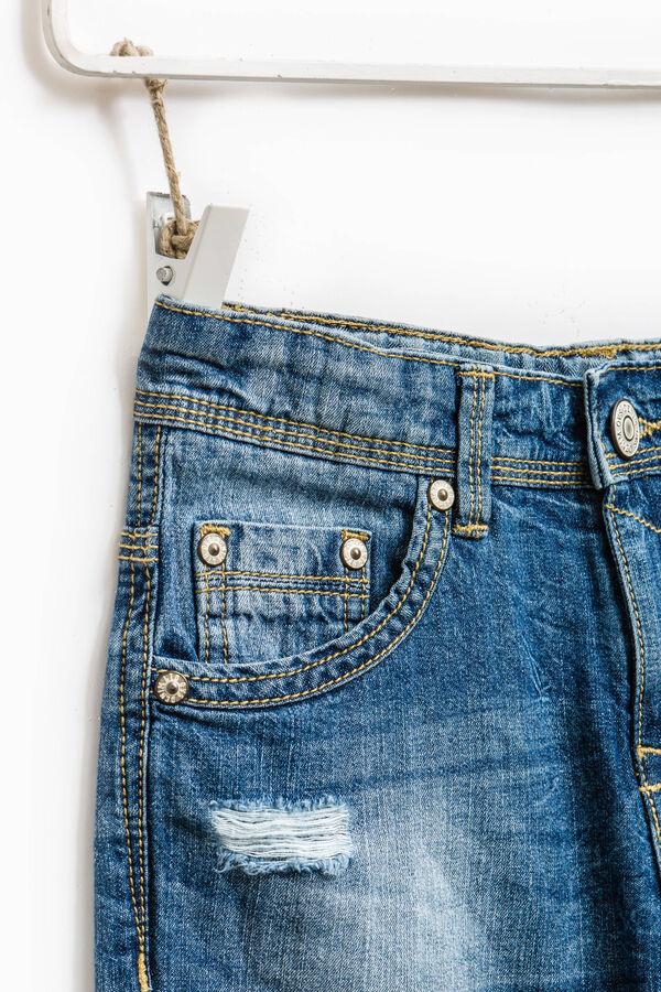 Worn-effect denim Bermuda shorts with abrasions | OVS