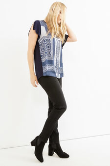 Curvy maxi print cotton T-shirt, Blue, hi-res