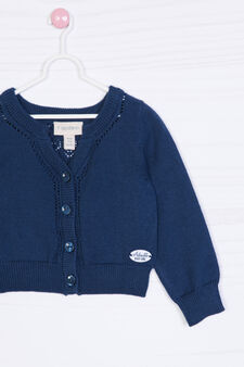Solid colour 100% cotton cardigan., Blue, hi-res
