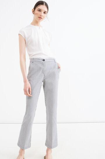 Pantaloni cotone stretch a righe, Bianco/Grigio, hi-res